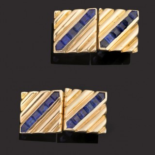 Pair gold cufflinks with fine coloured, square, channel set sapphires.