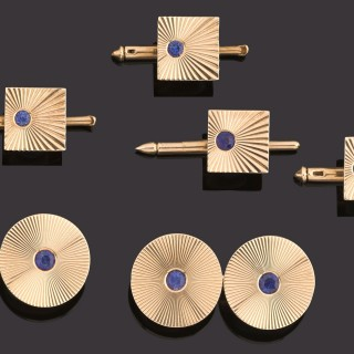 Fine pair of 14k gold and sapphire cufflinks and four buttons.