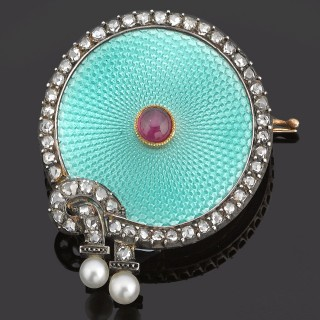 Gold mounted enamel, diamond, natural pearl, ruby brooch.
