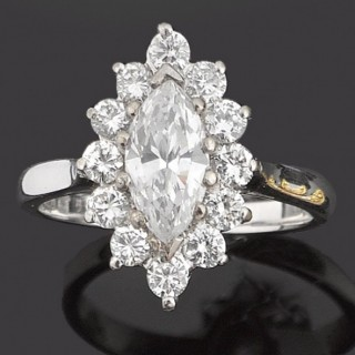 Marquise diamond cluster ring,