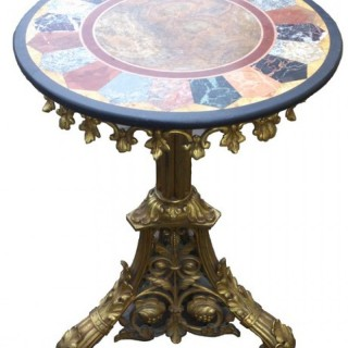 Antique Wine Table Base In Gilt Brass