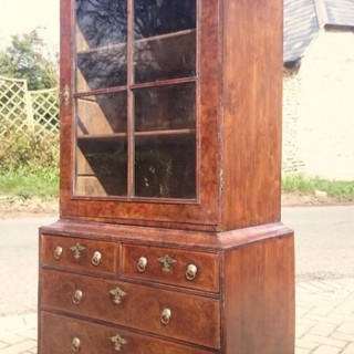 Early 18th Century Antique Walnut Cabinet / Bookcase