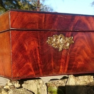 George III Period 18th Century Mahogany Tea Caddy