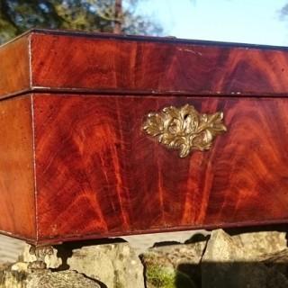 George III Period 18th Century Mahogany Tea Caddy