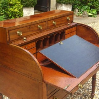 George III Period Antique Tambour Fronted Writing Desk
