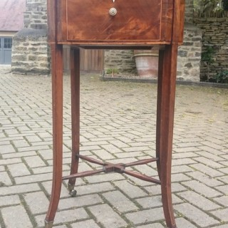 George III Period Antique Work Table In Mahogany And Flame Mahogany