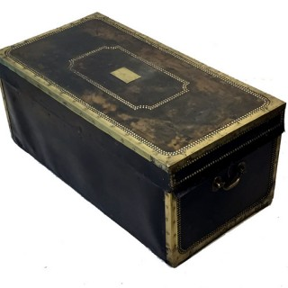Antique Camphor Wood And Leather Military Campaign Trunk