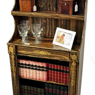 Antique Regency Period Simulated Coromandel Waterfall Bookcase