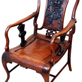 Antique Oriental Hardwood Armchair