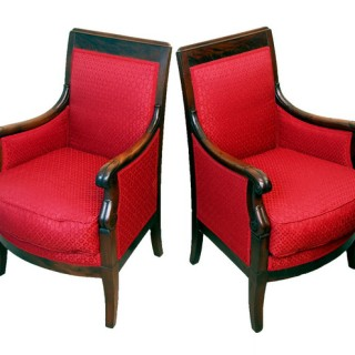 Antique Mahogany 19th Century French Library Chairs