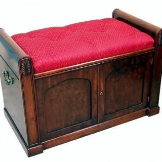 Antique Regency Mahogany Window Seat Bench