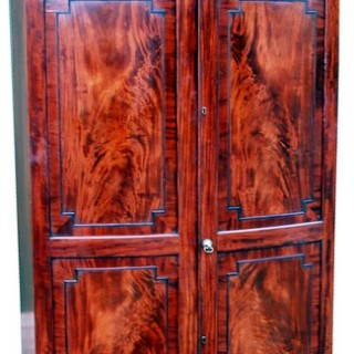 Antique Regency Mahogany Bowfront Wardrobe