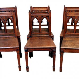 Antique Oak Set Of Six Gothic Chairs