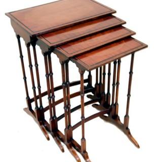Antique Mahogany Nest Of Quartetto Tables