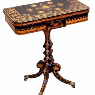 Antique 19th Century Penwork Decorated Games Table