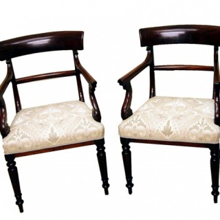 Antique Regency Mahogany Pair Of Carver Chairs