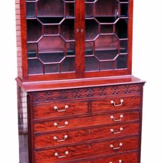 18th Century Mahogany Georgian Secretaire Library Bookcase