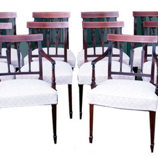 Antique Set Of Ten Mahogany Dining Chairs