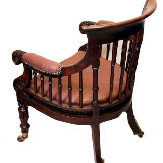 Antique Regency Oak Library Bergere Type Chair