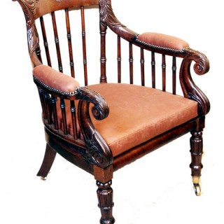 Antique Regency Oak Library Bergere Type Chair