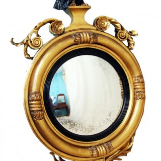 Antique Regency Gilt Convex Mirror