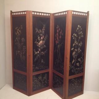 Victorian mahogany ebonised four leaf screen