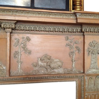 Scottish carved pine and gesso mantelpiece