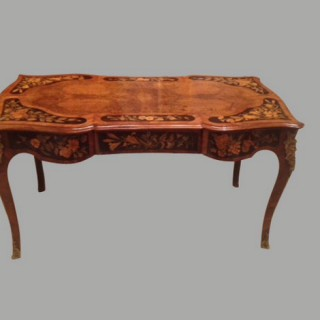 Burr walnut writing table.