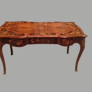 Burr walnut writing table.