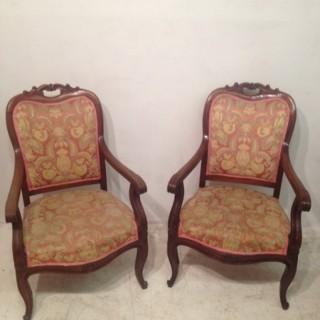 Pair of mahogany library chairs.