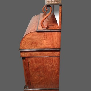 Regency burr oak cylinder writing desk