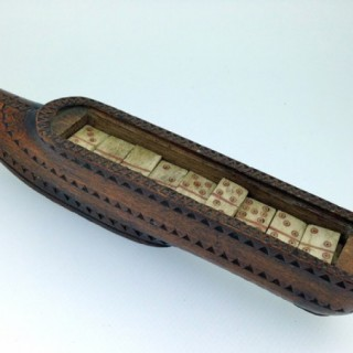Napoleonic prisoner of war domino set in shoe