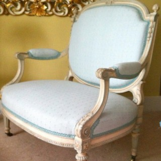 Painted Settee with the Princess of Wales stamp and label