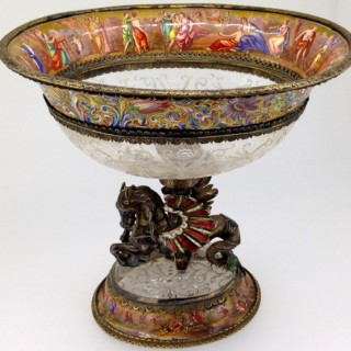 Viennese enamel and rock crystal coupe