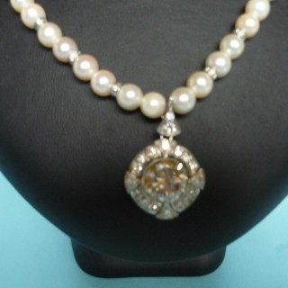 Pearl and Diamond Drop Necklace