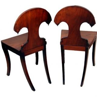 Antique Regency Mahogany Pair Hall Chairs