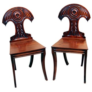 Antique Regency Mahogany Pair Hall Chairs