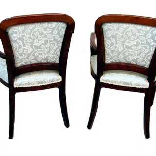 Antique Continental Mahogany & Ash Library Armchairs