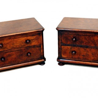 Antique Pair Walnut Miniature Chests