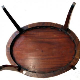 Antique Georgian Mahogany Oval Tray On Stand
