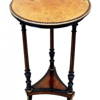 Victorian 19th Century Amboyna & Ebonised Occasional Table
