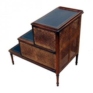 Antique Regency Mahogany Caned Bedsteps