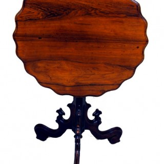 Antique French Victorian Rosewood Tripod Table