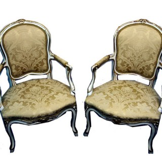 Antique 18th Century French Painted Pair Of Salon Chairs