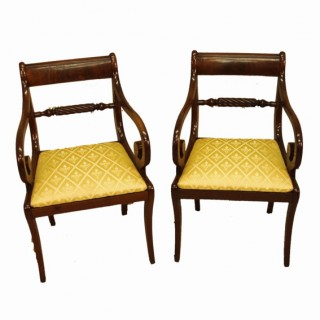 Antique Regency Mahogany Set Of Eight Dining Chairs
