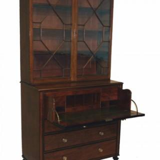 Antique Regency Mahogany Secretaire Bookcase