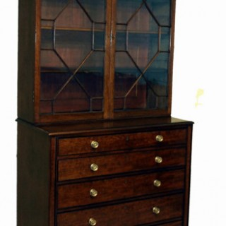 Antique Regency Mahogany Secretaire Bookcase
