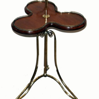 Antique Brass And Mahogany Cake Stand