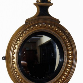 Antique Regency Period Gilt & Ebonised Convex Mirror