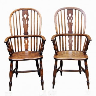 Antique Set Of Eight Ash & Elm Windsor Chairs